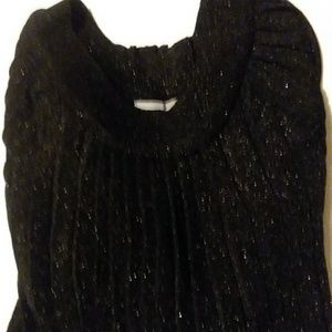NY Collection Black Knit Pleated Sweater